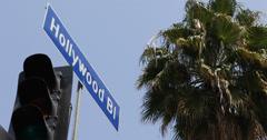 Ultra HD 4K Crosswalk Pedestrians Hollywood Sign Traffic Signal Street Avenue US Stock Footage