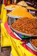 traditional food market in india. - stock photo