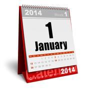 Stock Illustration of January 2014 calendar