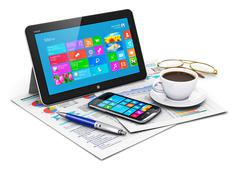 Stock Illustration of Tablet computer and business objects