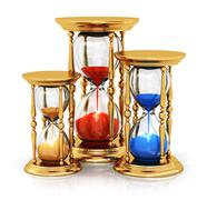 Vintage golden hourglasses - stock illustration
