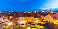 Evening panorama of Nuremberg, Germany - stock photo