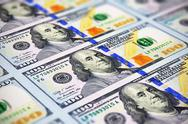 Stock Photo of New 100 US dollar banknotes