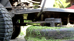 The dirty lawn mower has stopped Stock Footage