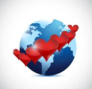 Globe with red hearts around illustration Stock Illustration