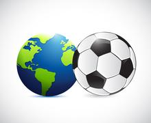 Soccer or football around the globe concept Stock Illustration