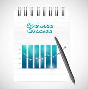 business graph success and notepad illustration - stock illustration