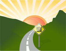 Risk ahead road illustration design landscape Stock Illustration