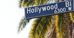 Ultra HD 4K Traffic Pedestrian Crosswalk Hollywood Street Sign Los Angeles Palm - stock footage