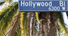 Ultra HD 4K UHD Traffic Hollywood Street Sign Pedestrians Crosswalk Palm Trees Stock Footage