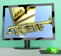 access key on computer screen showing security - stock illustration
