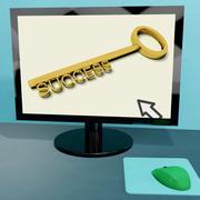Success key on computer shows business achievement online Stock Illustration