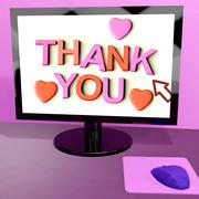 thank you message on computer screen showing online appreciation - stock illustration