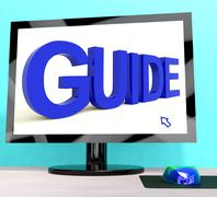 Stock Illustration of guide word on computer shows guidance or training