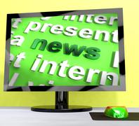 News word on computer shows articles and information Stock Illustration