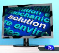 solution word on computer showing success and achievement - stock illustration