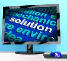 Stock Illustration of solution word on computer showing success and achievement