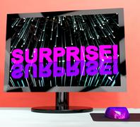 Surprise word and fireworks shows shock and celebration Stock Illustration