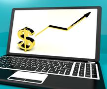 Dollar sign and up arrow on computer for earnings or profit Stock Illustration