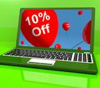 Stock Illustration of balloons on computer showing sale discount of ten percent online