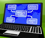 Stock Illustration of weight loss diagram on laptop showing exercise and calories