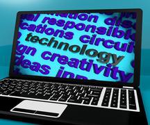 Teknologia sana laptop tarkoittaa ohjelmistoja ja hi tech Piirros