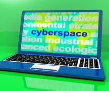 cyberspace definition on laptop shows internet - stock illustration