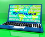 Stock Illustration of cyberspace definition on laptop shows internet