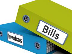 bills and invoices files show accounting and expenses - stock illustration