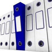 blue file amongst white for getting organized - stock illustration