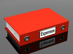 Expenses file shows accounting and records Stock Illustration