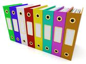 Stock Illustration of row of colorful files to get organized
