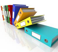 Stock Illustration of row of falling files for getting organized