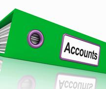 Accounts file shows accounting profit and expenses Stock Illustration