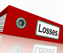 Stock Illustration of losses file contains accounting documents and reports