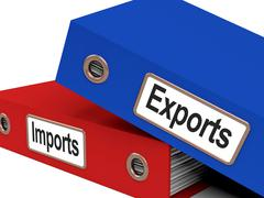 Export and import files showing international trade or global commerce Stock Illustration
