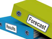 Stock Illustration of forecast results files show progress and goals