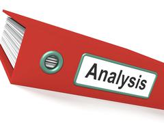 analysis file containing data and analyzing documents - stock illustration
