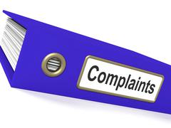 Complaints file shows complaint reports and records Stock Illustration