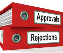 approvals rejections files showing accept or decline reports - stock illustration