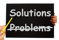 Solutions not problems notice on board Stock Illustration