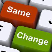 change same keys show decision and improvement - stock illustration