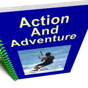 Action and adventure book shows extreme exciting sports Stock Illustration