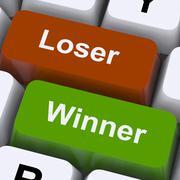 Loser winner keys shows risk and chance Stock Illustration
