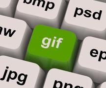 gif key shows image format for internet pictures - stock illustration