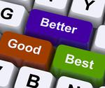 Stock Illustration of good better best keys represent ratings and improvement