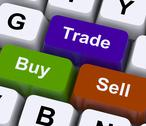 Stock Illustration of buy trade and sell keys represent commerce online