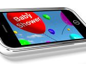Stock Illustration of mobile phone message shows baby shower celebration