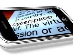 Stock Illustration of cyberspace on mobile phone shows internet connection