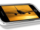 Stock Illustration of airplane flying towards the sunset picture on mobile phone